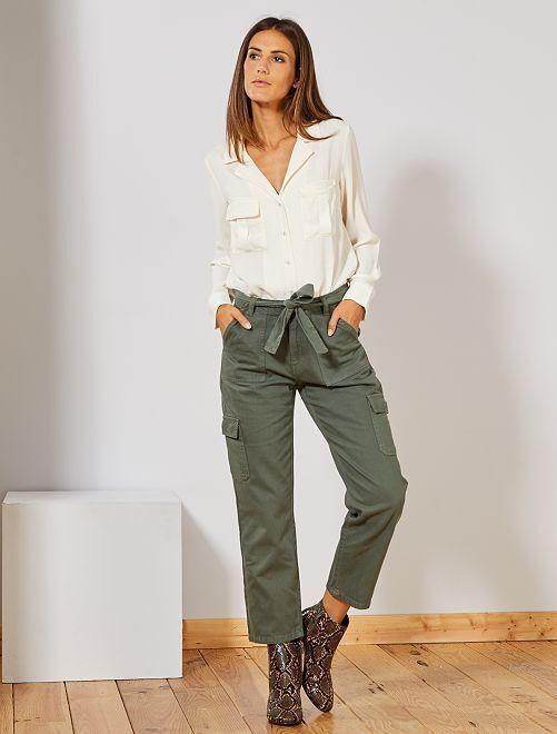Pantalon cargo                             vert thym