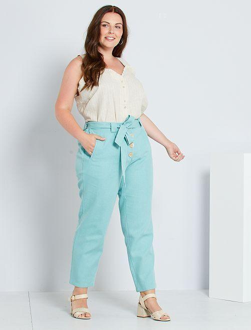 Pantalon ceinturé en coton et lin                             vert grisé