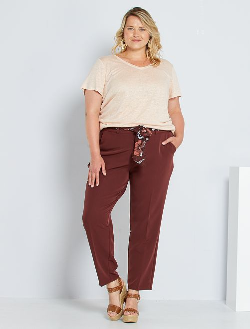 Pantalon ceinture foulard                             brique