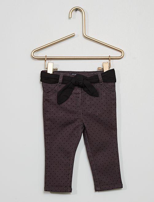 Pantalon ceinturé imprimé 'pois'                                                     gris anthracite