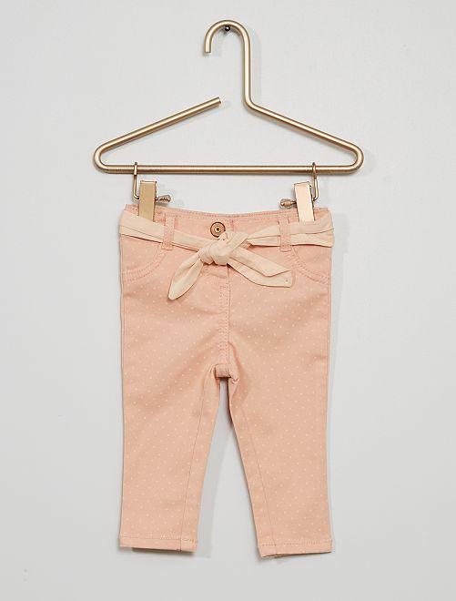 Pantalon ceinturé imprimé 'pois'                                 rose