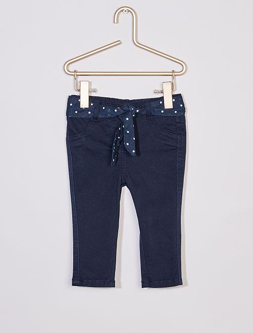 Pantalon + ceinture imprimée                                 bleu pois