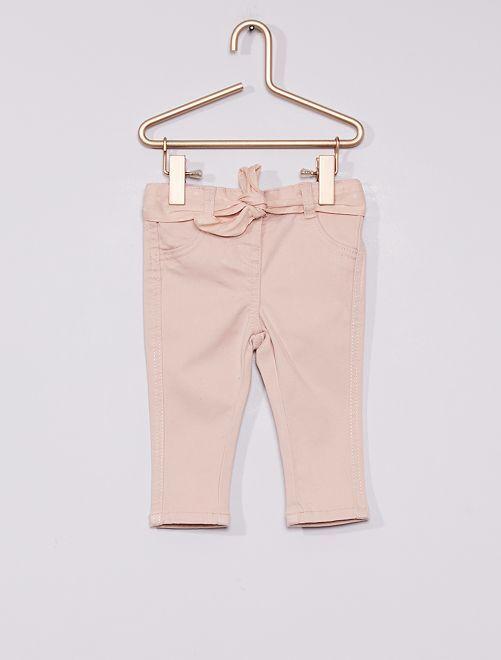 Pantalon + ceinture imprimée                                                     rose pois