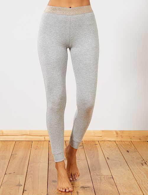 Pantalon chiné molleton gratté                                                                 gris clair