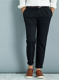 Pantalon slim - Pantalon chino à pinces coupe slim