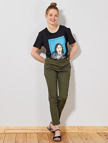 Femme du 34 au 48 , Pantalon chino avec boutons , Kiabi