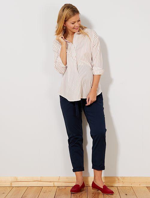 Pantalon chino + ceinture                             bleu marine Femme