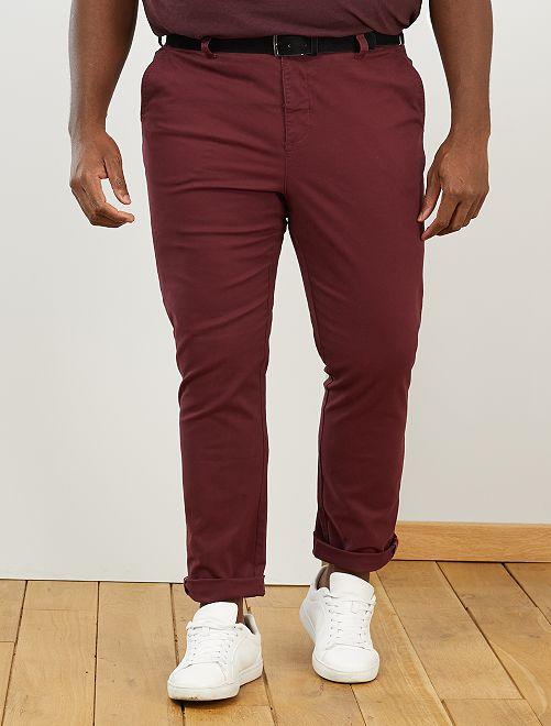 Pantalon chino + ceinture                                         bordeaux