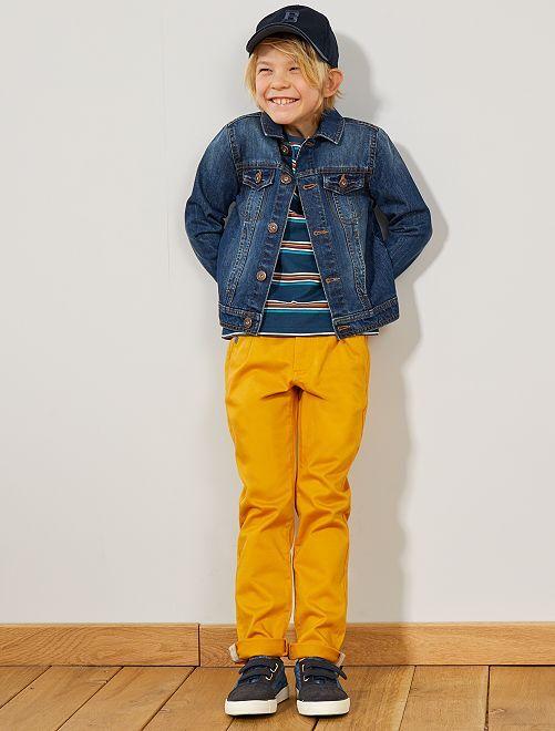 Pantalon chino ceinture contrastante                             moutarde Garçon