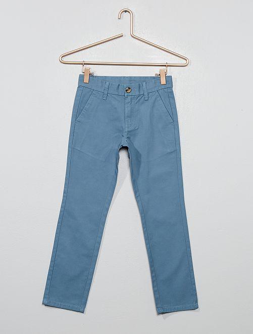 Pantalon chino coupe droite en coton                                                     bleu gris