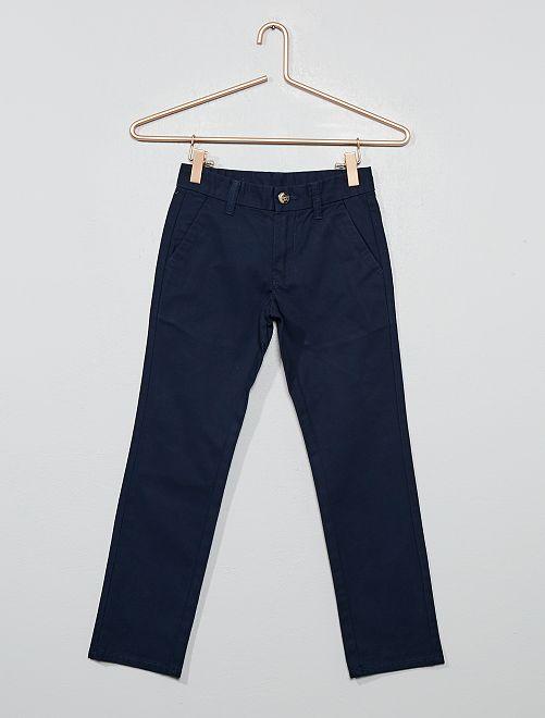 Pantalon chino coupe droite en coton                     bleu marine