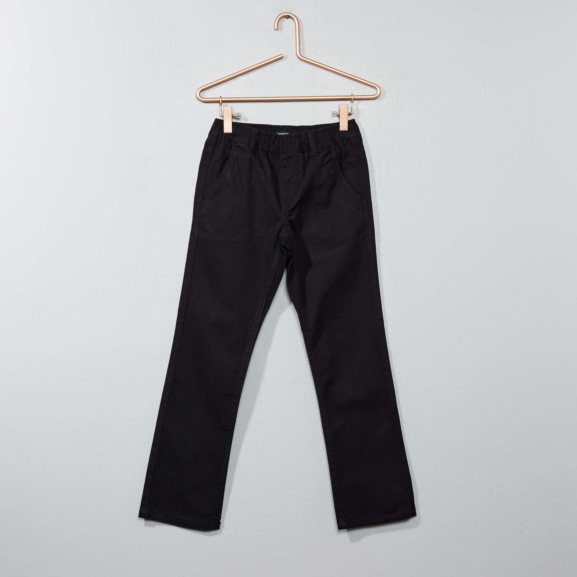 pantalon chino en canvas gar on noir kiabi 3 00. Black Bedroom Furniture Sets. Home Design Ideas