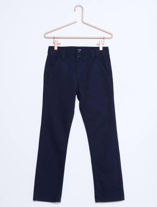 pantalon chino en twill gar on bleu marine kiabi 10 00. Black Bedroom Furniture Sets. Home Design Ideas