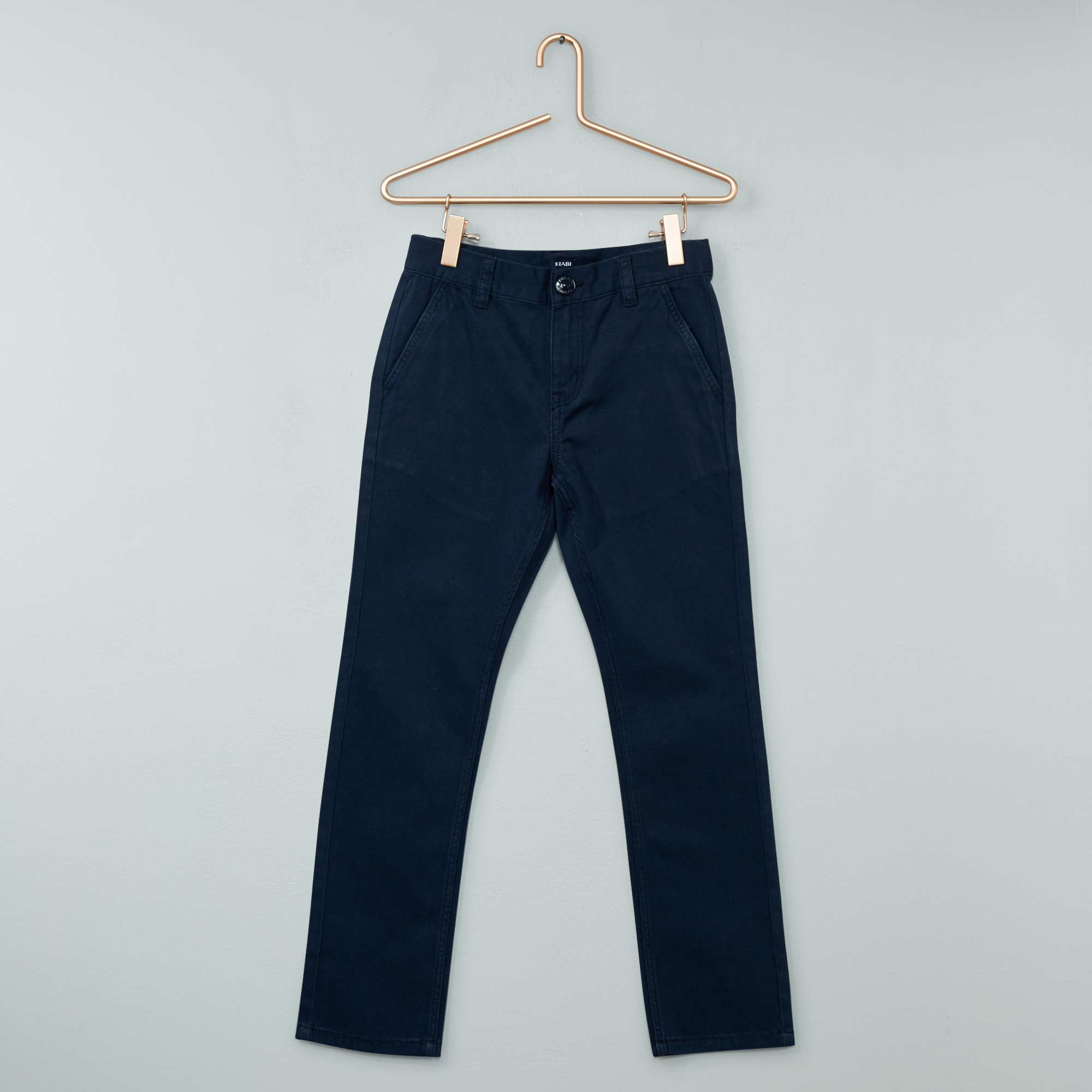 pantalon chino en twill gar on bleu marine kiabi 8 00. Black Bedroom Furniture Sets. Home Design Ideas
