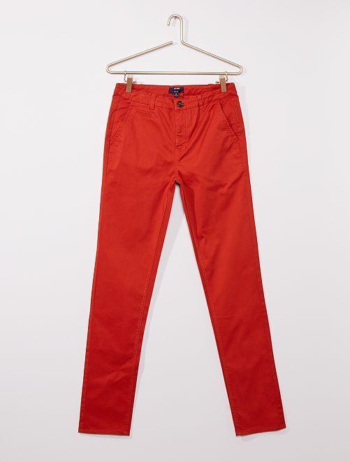 Pantalon chino en twill                                                     orange ketchup