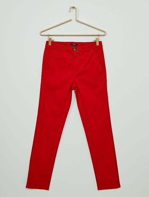 Pantalon chino en twill                                                     rouge