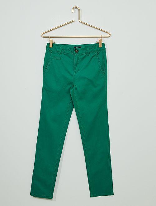 Pantalon chino en twill                                             vert pin