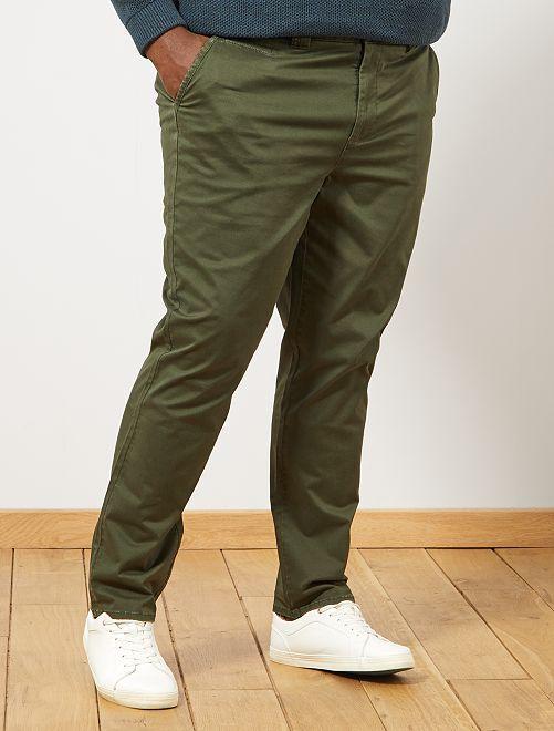 Pantalon chino fitted à chevrons                             kaki