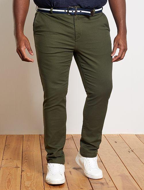 Pantalon chino fitted + ceinture                                         kaki