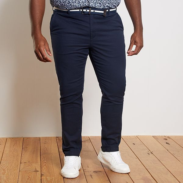 Pantalon chino fitted + ceinture Grande taille