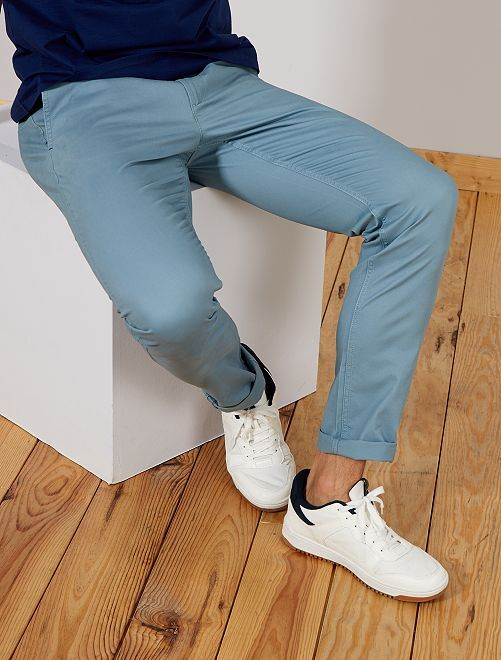 Pantalon chino fitted L36 +1m90                                                                 bleu gris