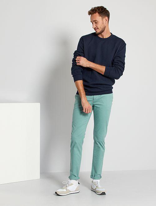 Pantalon chino fitted L36 +1m90                                                     bleu turquoise
