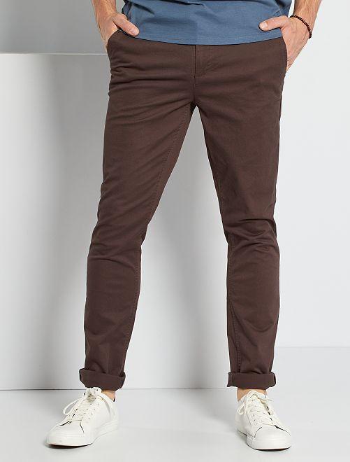 Pantalon chino fitted L36 +1m90                                                                 marron foncé