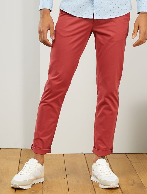 Pantalon chino fitted L36 +1m90                                                                                         rouge grenat