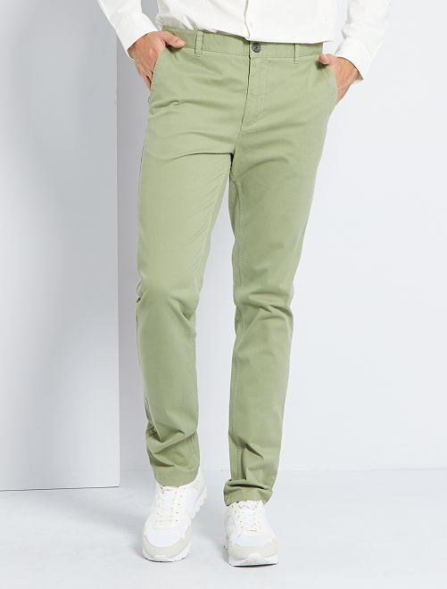Pantalon chino fitted L36 +1m90                                                                             vert olive
