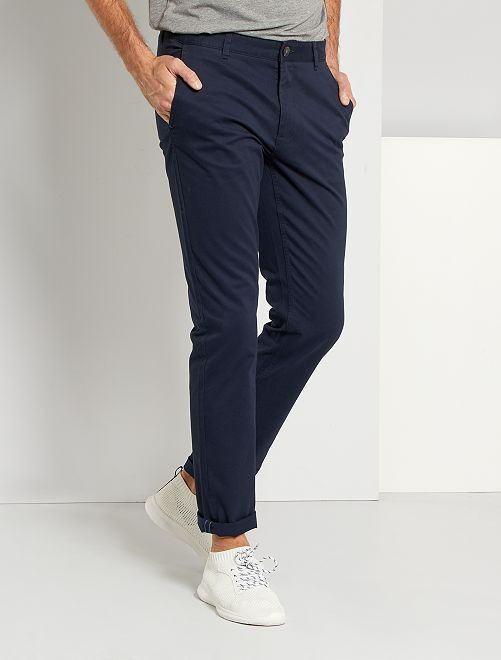 Pantalon chino fitted L38 +1m95                                             bleu marine