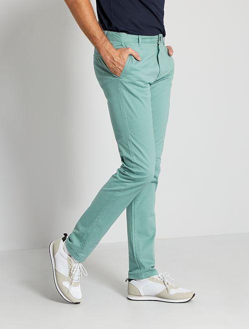 Pantalon chino fitted L38 +1m95                                             bleu turquoise