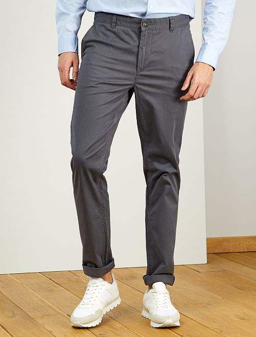 Pantalon chino fitted L38 +1m95                                                                                                     gris