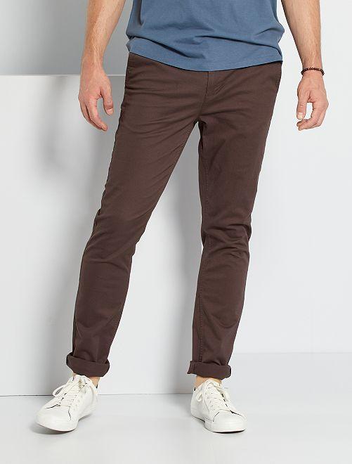 Pantalon chino fitted L38 +1m95                                                                 marron foncé