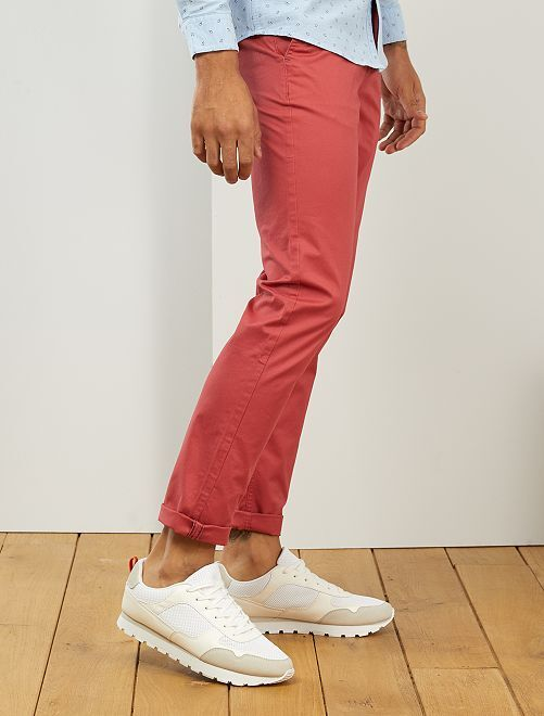 Pantalon chino fitted L38 +1m95                                                                                                     rouge grenat
