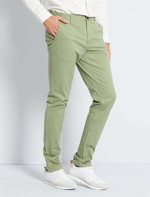 Pantalon chino fitted L38 +1m95                                                                             vert olive