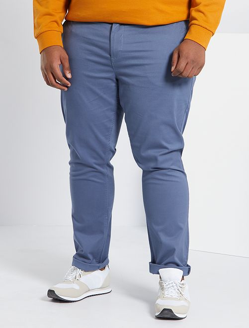 Pantalon chino fitted twill stretch                                                                                                     bleu gris