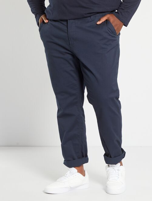Pantalon chino fitted twill stretch                                                                                                                 bleu marine