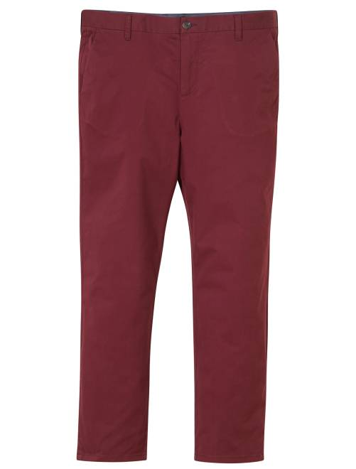 Pantalon chino fitted twill stretch                                                                                                                 bordeaux Grande taille homme