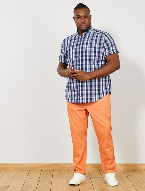 Pantalon chino fitted twill stretch                                                                                         corail