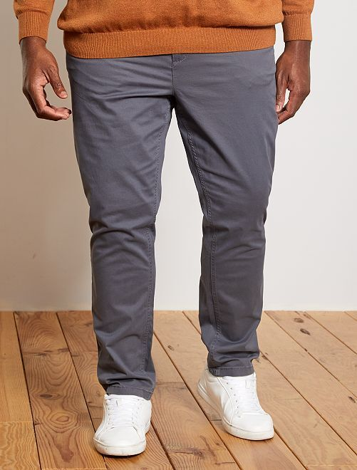 Pantalon chino fitted twill stretch                                                                                         gris