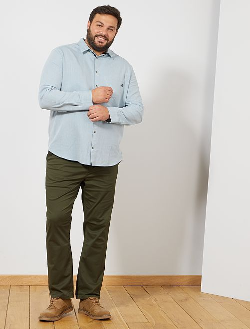 Pantalon chino fitted twill stretch                                                                                         kaki Grande taille homme