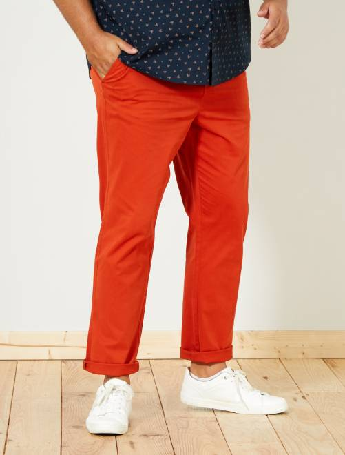Pantalon chino fitted twill stretch                                                                                         orange Grande taille homme