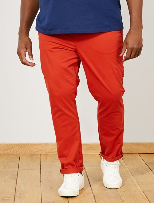 Pantalon chino fitted twill stretch                                                                                         orange ketchup