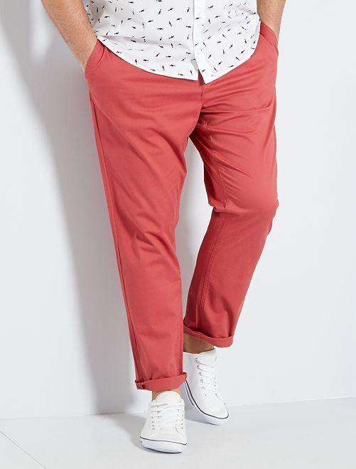 Pantalon chino fitted twill stretch                                                                 rouge grenat