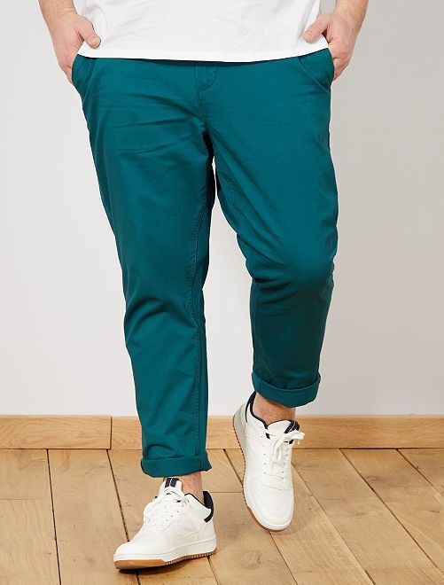 Pantalon chino fitted twill stretch                                                                                         vert Grande taille homme