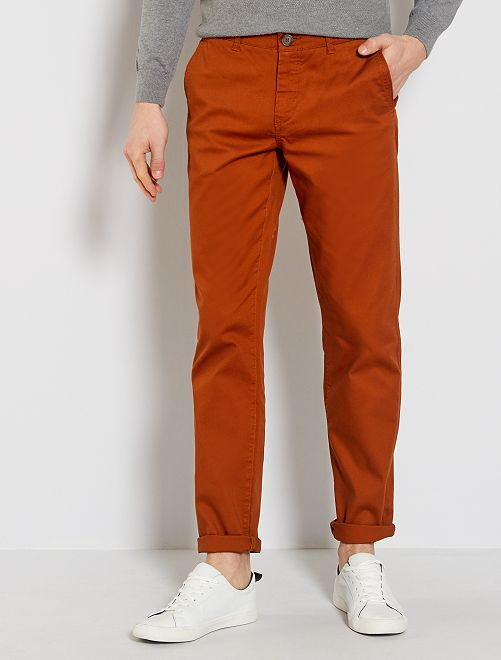Pantalon chino maille piquée                                                                                                                                                                             curry