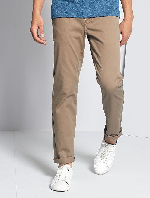 Pantalon chino maille piquée                                                                                                                                                                             gris beige