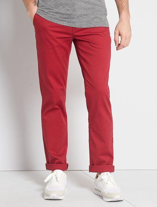 Pantalon chino maille piquée                                                                                                                 rouge