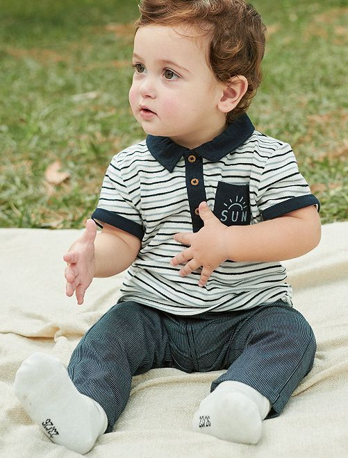 Pantalon chino rayé pur coton                             rayé bleu Bébé garçon
