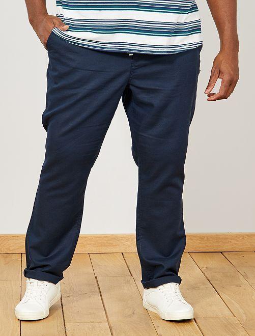 Pantalon chino regular en lin                                         bleu marine Grande taille homme